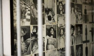A wall of photos at the Tuol Sleng Genocide Museum in Phnom Penh, Cambodia.