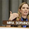 Goodwill Ambassador Mira Sorvino speaks at UNODC event in 2009
