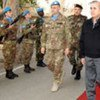 Le Président du Liban Michel Sleiman en visite au quartier général de la FINUL en décembre 2008.