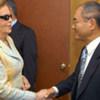Goodwill Ambassador Lily Marinho (left) with then UNESCO chief Koïchiro Matsuura on 14 June 2005
