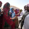 IDPs welcome Emergency Relief Coordinator Valerie Amos (right) in Gal-Mudug State, Somalia