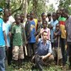 UNHCR workers and locals planning the construction of the Bahn camp