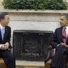 Le Secrétaire général Ban Ki-moon (à gauche) avec le Président américain Barack Obama.
