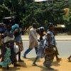 Civilians leave the dangerous suburb of Abobo in Abidjan, Côte d'Ivoire