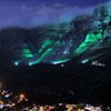 South Africa's Table Mountain is floodlit in blue to mark World Water Day 2011 held in Cape Town