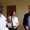 UNDP seismologist Eric Calais (right) with Haiti's Interior Minister, Paul Antoine Bien-Aime (left), and UNDP's Jessica Faieta