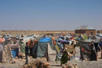 A settlement of displaced people in central Somalia