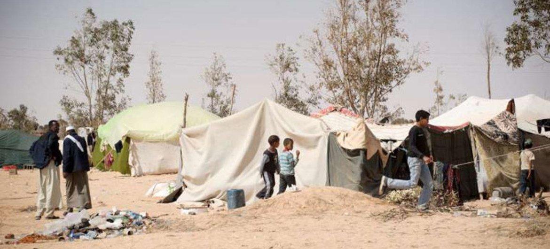 Displaced people in eastern Libya outside the town of Ajdabiya