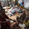Des déplacés ivoiriens à la mission catholique à Duékoué, en Côte d'Ivoire.