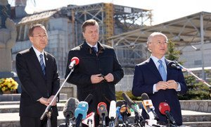 Secretary-General Ban Ki-moon (left) visits Chernobyl and addresses an event marking the 25th Anniversary of the nuclear disaster.
