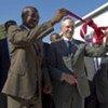 Chief of MINUSTAH, Edmond Mulet (right) and President Haiti's Senate Kelly Bastien inaugurate new temporary parliament building