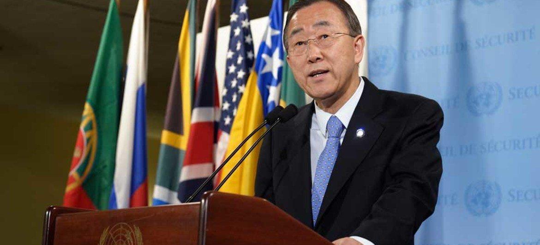 Secretary-General Ban Ki-moon addresses press