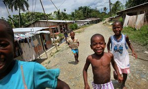 Afro-Colombian children displaced from their rural homes, find refuge near the city of Buenaventura.