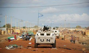 UN peacekeepers patrol the streets of Abyei town.