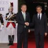 Secretary-General Ban Ki-moon (left) and President Nicolas Sarkozy of France at the G8 Summit in Deauville