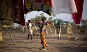 Children play in a returnee camp on the outskirts of Aweil in Northern Bahr el-Ghazal, Southern Sudan.