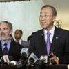 Secretary-General Ban Ki-moon (right) and Foreign Minister Antonio de Aguiar Patriota of Brazil brief press