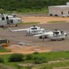 UN helicopters on the ground at Kadugli Airport, Southern Kordofan