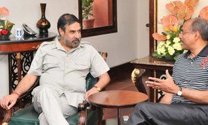 UNAIDS Executive Director Michel Sidibé (right) and India's Commerce Minister Anand Sharma