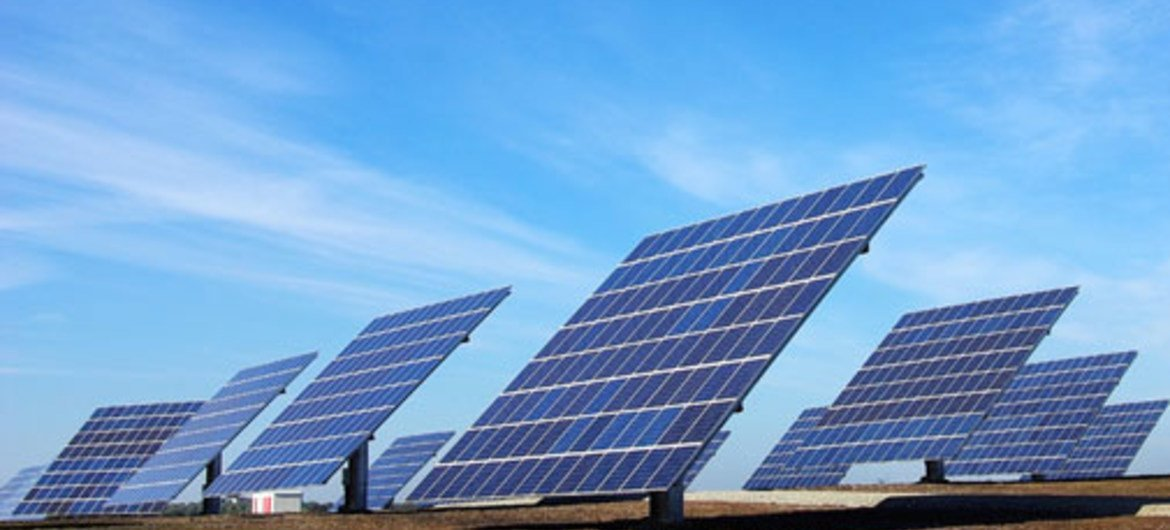 Solar panels at a power plant used for renewable energy.