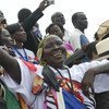 People show their euphoria as the Republic of South Sudan proclaims its independence