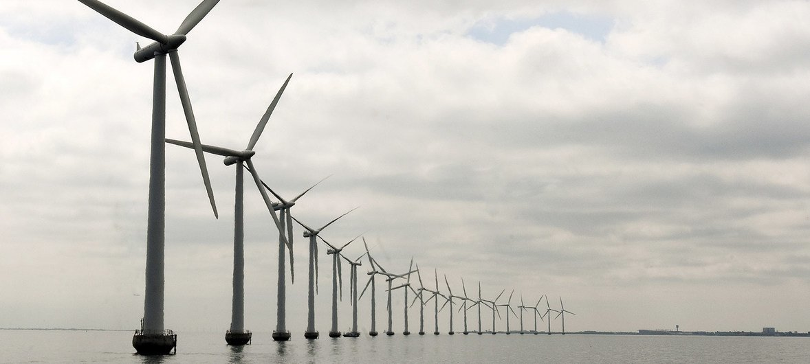 Middelgruden offshore wind farm which was developed off the Danish coast in 2000 and consists of 20 turbines.