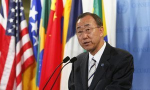Secretary-General Ban Ki-moon speaks to journalists after a Security Council meeting on climate change