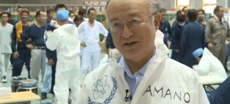 IAEA Director General Yukiya Amano at the Fukushima Daiichi nuclear power plant