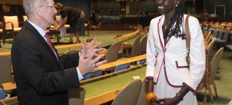 GA President Joseph Deiss (left) with international top model Alek Wek at the high-level meeting on  youth