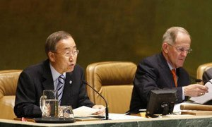 Secretary-General Ban Ki-moon (left) and General Assembly President Joseph Deiss