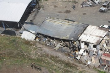 Aerial view of border crossing in Kosovo after it was attacked