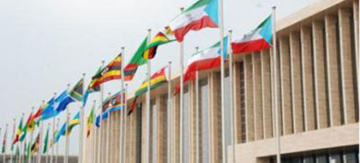 African Union member States flags fly at their summit in Equatorial Guinea in June 2011