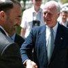 Special Representative Staffan de Mistura (right) is greeted by Governor Ata Mohammad Noor
