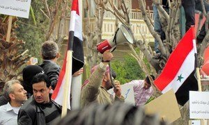 Protesters in Damascus, Syria on 8 April 2011