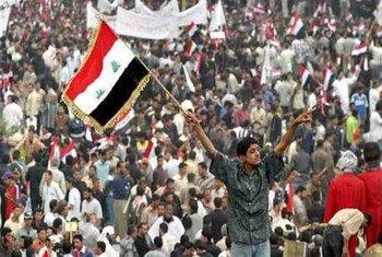 Des manifestants en Iraq.