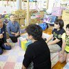 Secretary-General Ban Ki-moon and Mrs. Ban visit displaced persons at the Azuma Sogo Sports Park and Evacuation Center