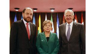 General Assembly President, Joseph Deiss (right), ECLAC Executive Secretary, Alicia Bárcena and Foreign Affairs Minister of Chile, Alfredo Moreno