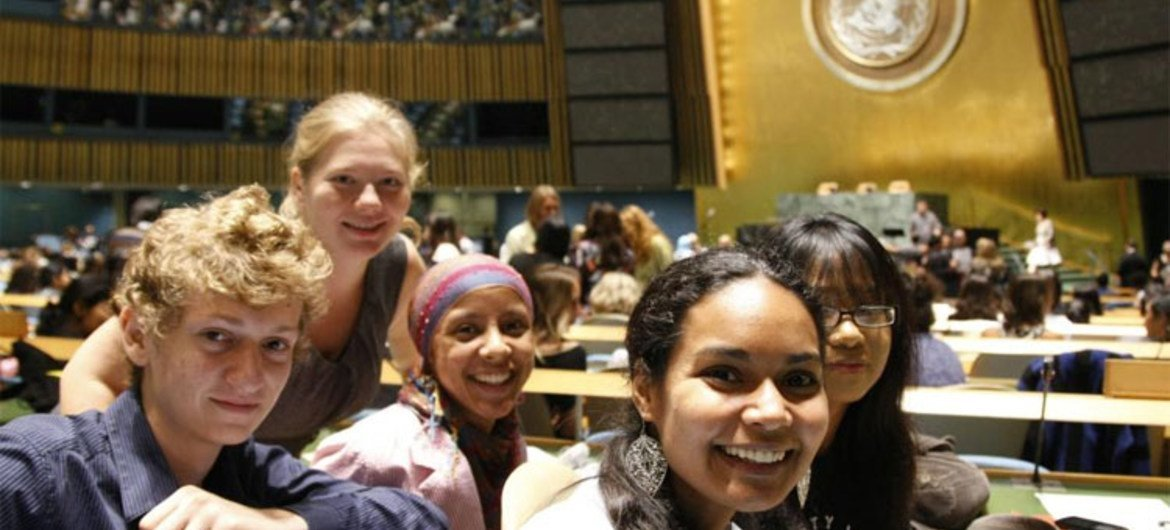 Young people at the launch of the International Year of Youth, celebrated annually on 12 August.