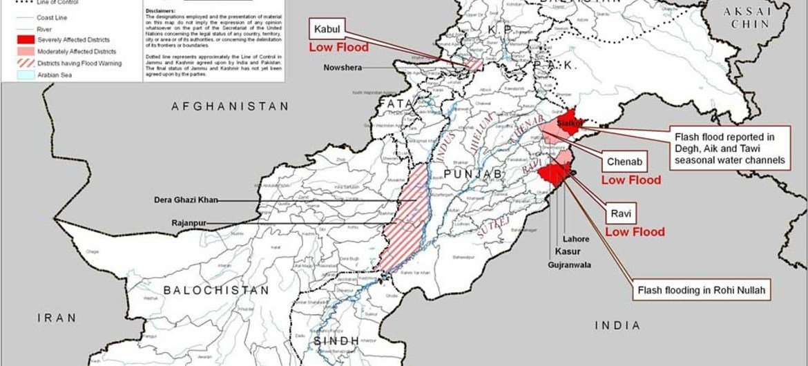 Map showing flood situation in Pakistan as of 14 August