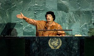 Muammar Qadhafi addresses the 64th session of the General Assembly on 23 September 2009