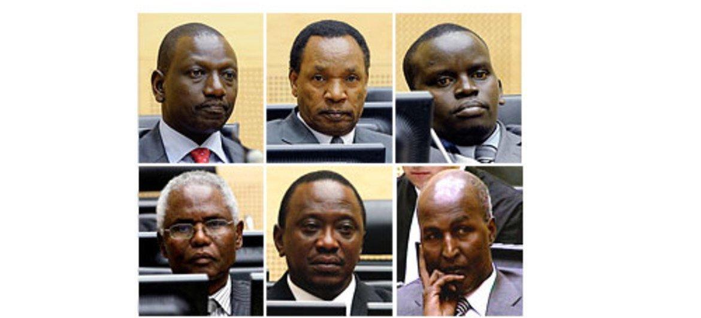 (Top L to R): William Samoei Ruto, Henry Kiprono Kosgey, Joshua Arap Sang. (Bottom L to R): Francis Kirimi Muthaura, Uhuru Muigai Kenyatta, and Mohamed Hussein Ali.