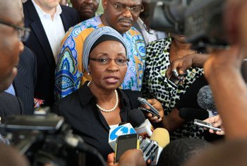 Deputy Secretary-General Asha-Rose Migiro speaks to the press outside the national hospital after visiting people injured in the suicide attack on the UN compound in Abuja, Nigeria.