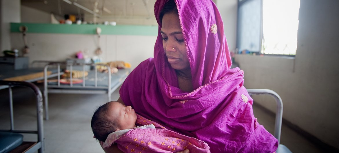 A mother and her newborn baby at the Maternal and Child Health Training Institute for medically needy in Dhaka, Bangladesh.