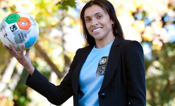 UNDP Goodwill Ambassador Marta Vieira da Silva, a Brazilian national, is known to her soccer fans as Marta.