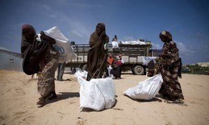 Internally displaced Somali women collect UNHCR aid supplies.