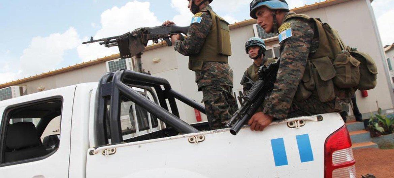 MONUSCO peacekeepers on patrol.