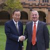 Secretary-General Ban Ki-moon (left) meets with Michael Spence, Vice-Chancellor of the University of Sydney