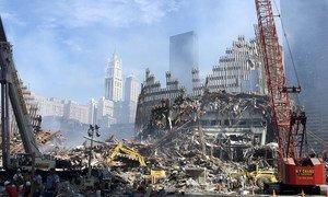 Scène de destruction du World Trade Center en 2001.