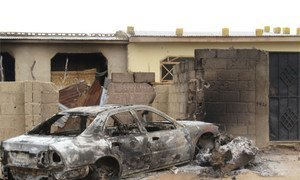 A car that was burnt during the crackdown in Nigeria on the extremist Islamist group known as Boko Haram in July 2011.