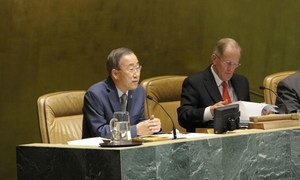 General Assembly President Joseph Deiss (right) and Secretary-General Ban Ki-moon  attend the closing of the Assembly's sixty-fifth session